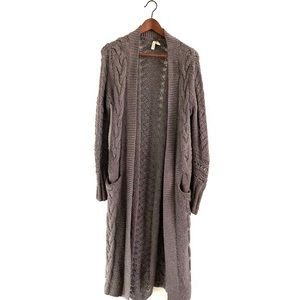We The Free Long Cardigan Open Front Crochet Brown